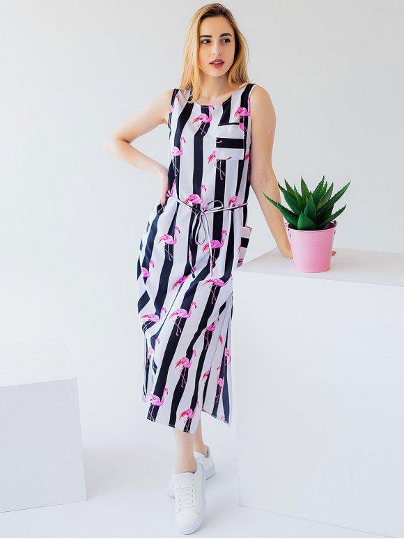 Трендовое платье миди в полоску с фламинго 2974
