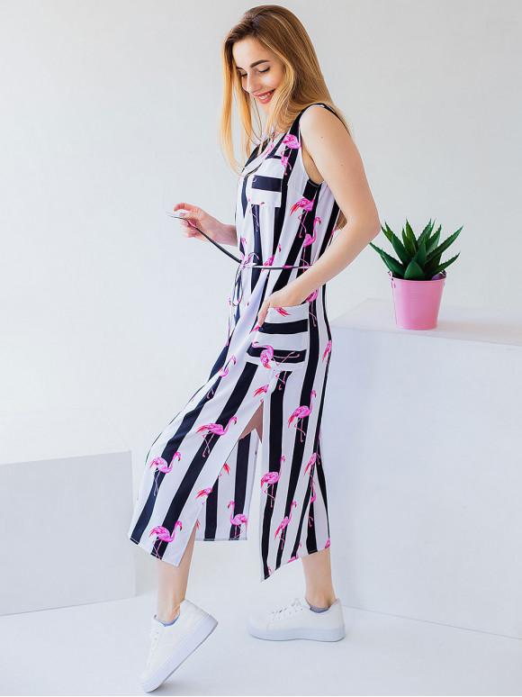 Трендова сукня міді в смужку з фламінго 2974
