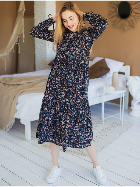 Платье миди в цветочный принт 3003