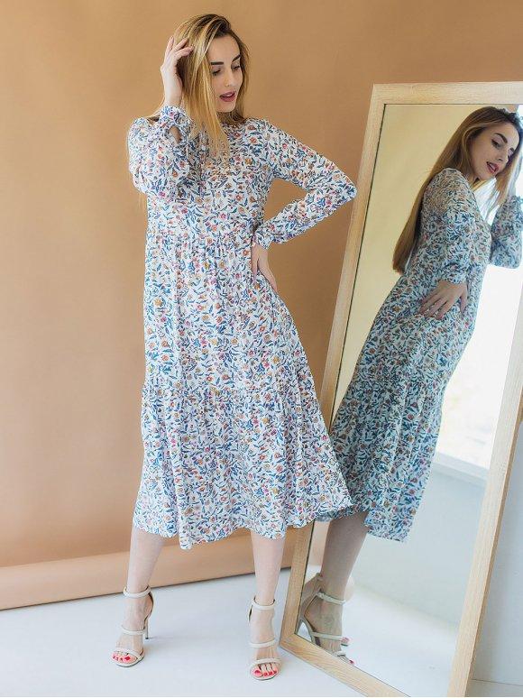 Сукня міді в квітковий принт 3003