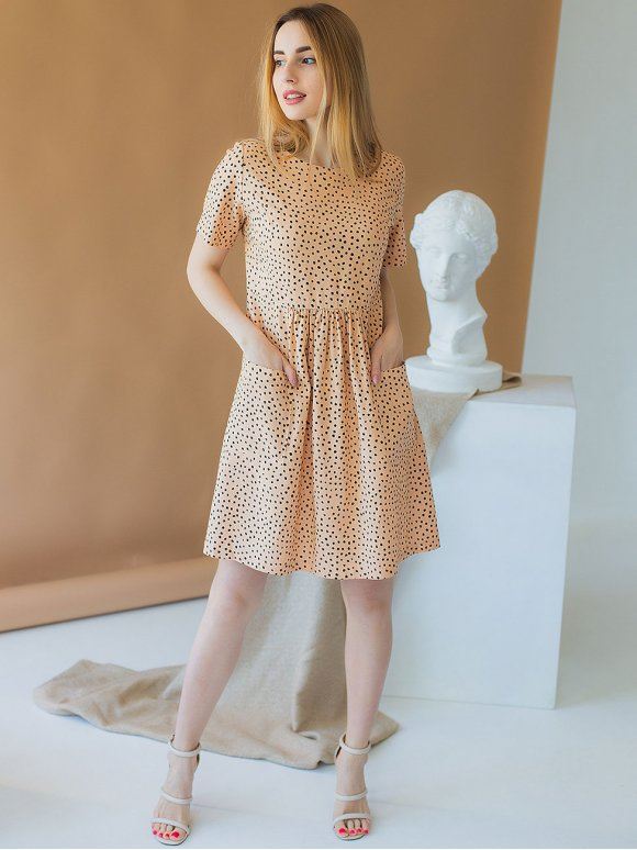 Стильна сукня в горошок з кишенями 2979