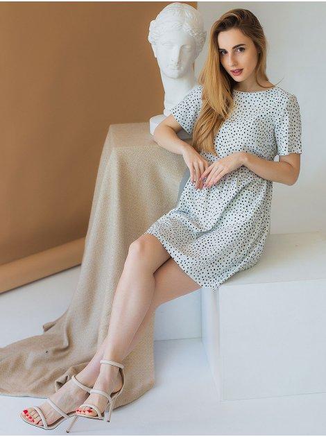 Стильное платье в горошек с карманами 2979
