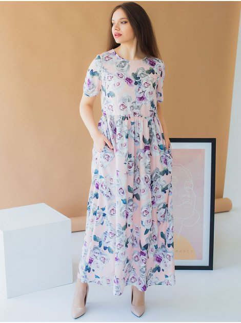 Длинное платье size+ в цветы 2978