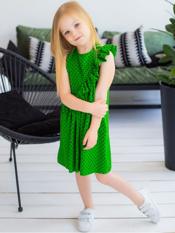Яскрава дитяча сукня з рюшею 10039