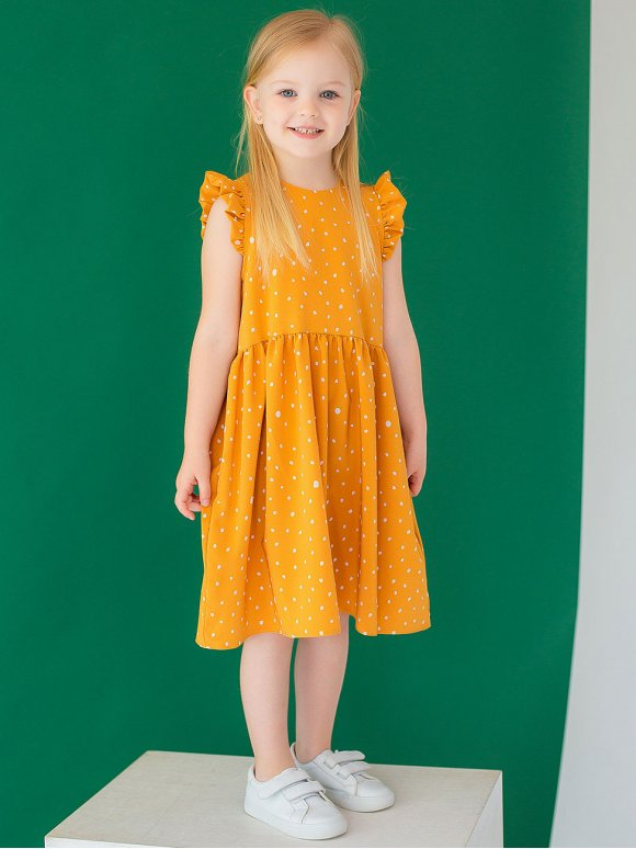 Дитяча сукня в горошок з рюшами на плечах 10036