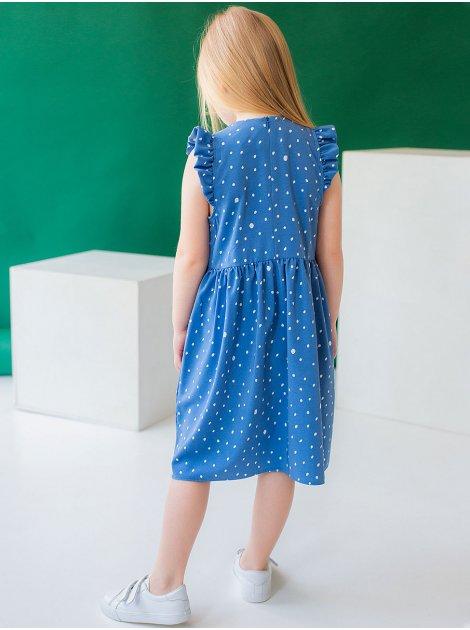 Детское платье в горошек с рюшами на плечах 10036