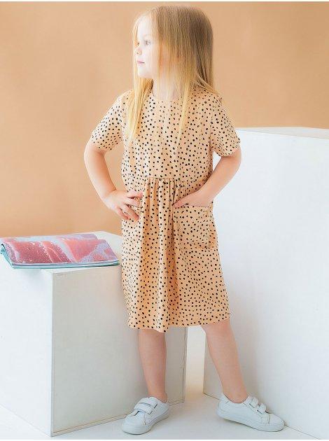 Детское платье в горошек с карманами 10037
