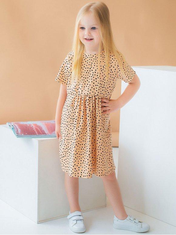 Дитяча сукня в горошок з кишеньками 10037