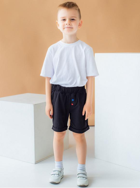 Дитячі шорти з кольоровими гудзиками і нашивкою 10044