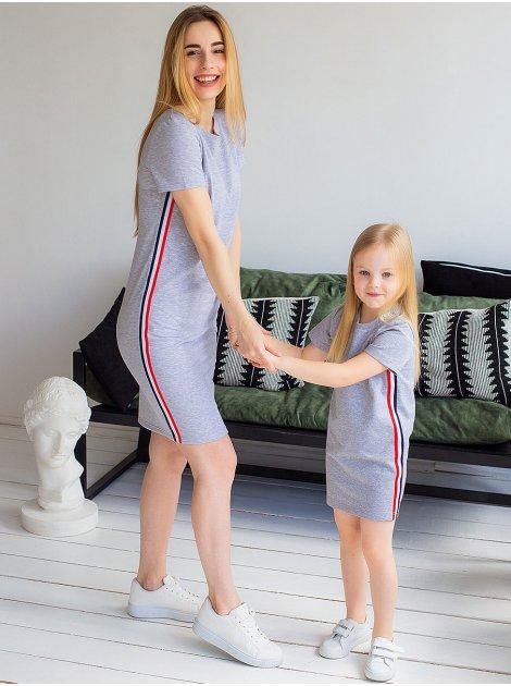 Детское трикотажное платье с лампасами 10046