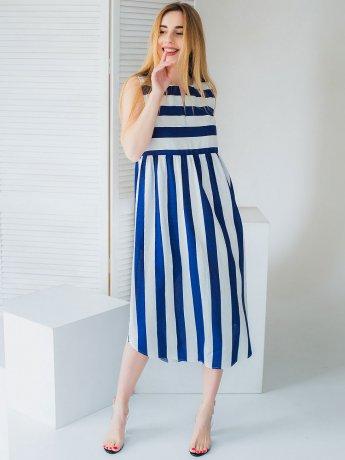 Платье миди в широкую полоску 3012