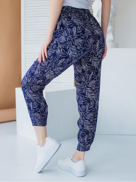 Укороченные летние штаны на резинке 3013
