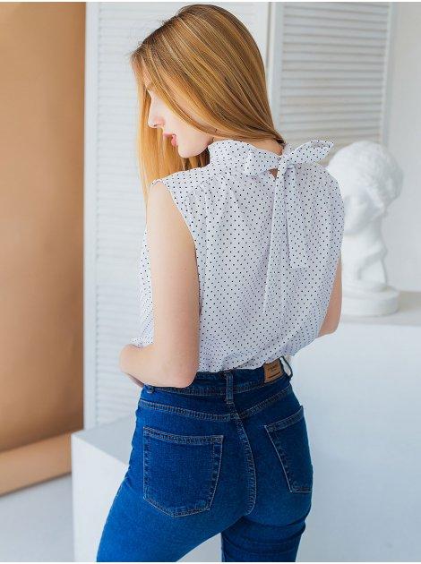 Воздушная блуза в горошек с бантом на спинке 3007