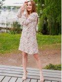 Принтованное платье с воланами на плечах 3021