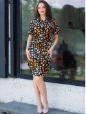 Яркое платье size+ с поясом 3029