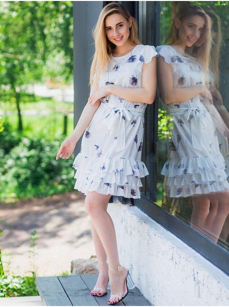 Платье в цветочный принт с рюшами по низу 3034