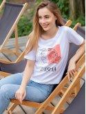 Трендовая белая футболка с принтом 3041