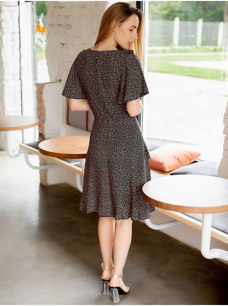 Цветочное платье с имитацией запаха с рюшами  3038