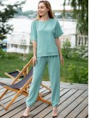 Костюм: блуза с удлиненной спинкой+легкие брюки 3032
