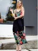 Длинный сарафан свободного кроя с ярким цветочным принтом 3047