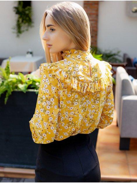 Шифоновая блуза с рюшами в цветочный принт 3009