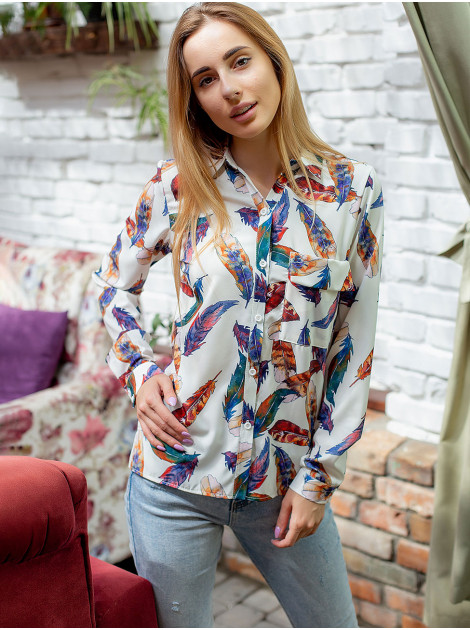 """Блуза с принтом """"перья"""" 3063"""