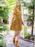 Платье в цветочный принт с завязками на рукавах 3054