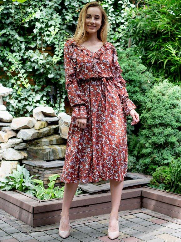 Нежное платье с рюшами в цветочный принт 3051