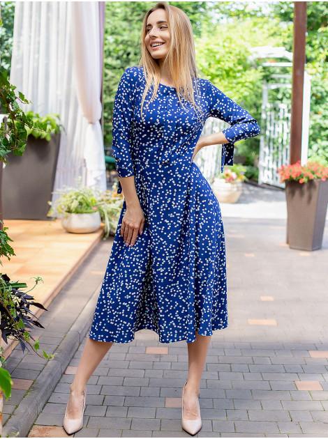 Платье в цветной горошек с завязками на рукавах 3036
