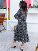 Платье-миди в цветочный принт с рюшами 3064