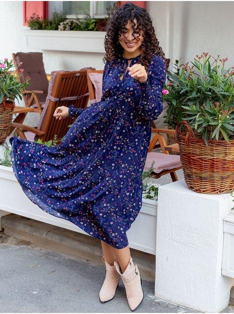 Платье-миди с рукавом на широкой резинке 3087