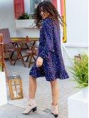 Короткое платье с рюшами и V-образным вырезом 3088