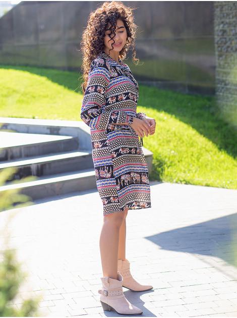 Платье в этнический принт на завязках 3094