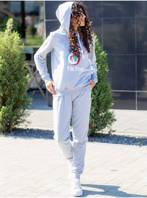 """Костюм: худи с принтом """"TikTok"""" + брюки с лампасами 3073"""