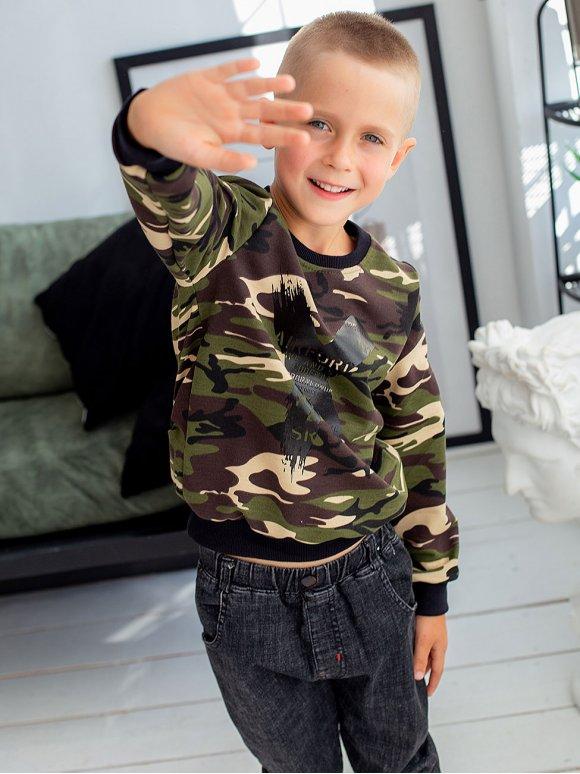 Детский камуфляжный свитшот с принтом 10056