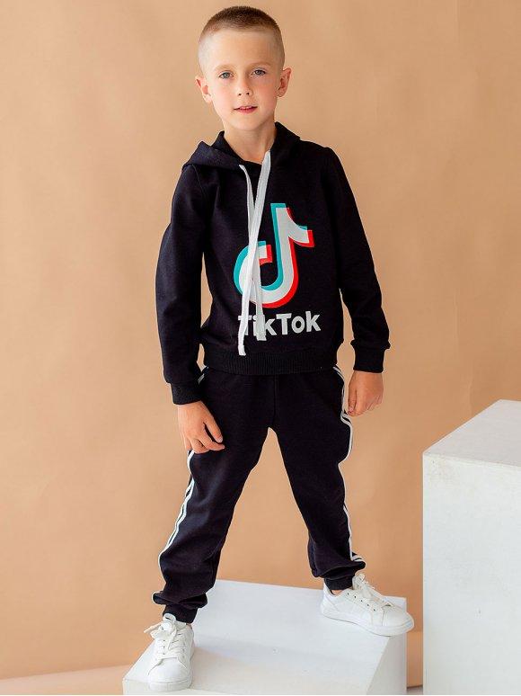 """Детский костюм с лампасами и принтом """"TikTok"""" 10051"""