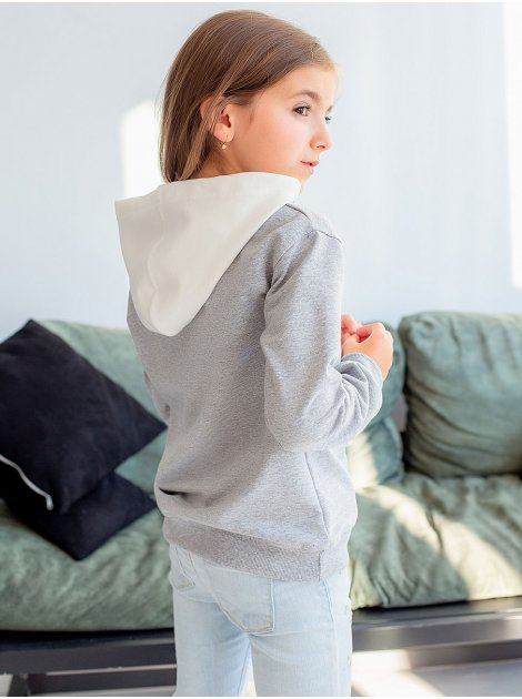 Детский комбинированный худи с принтом 10054