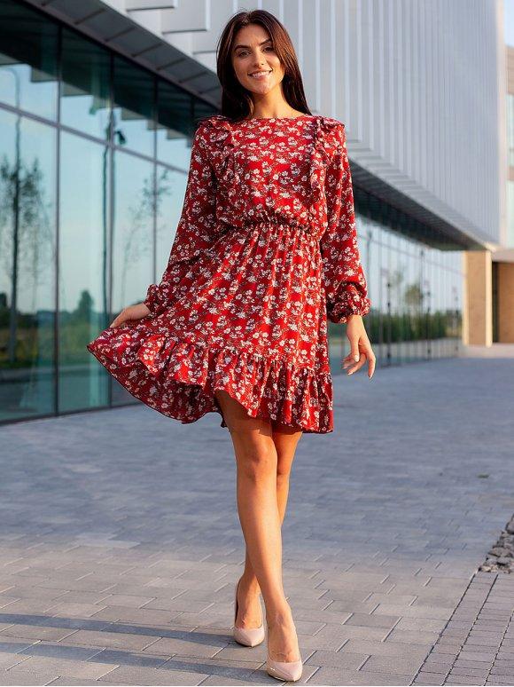 Короткое цветочное платье с рюшами 3104