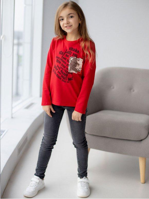 Детский свитшот с принтом и карманом из пайеток 10060