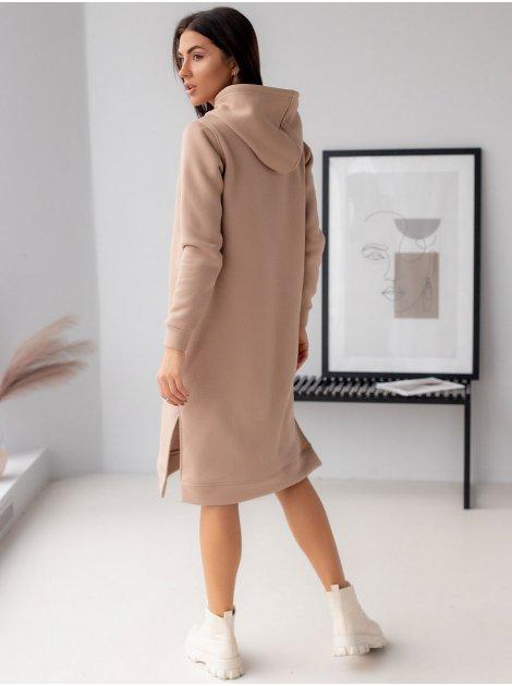 Теплое платье худи с карманом-кенгуру 3115