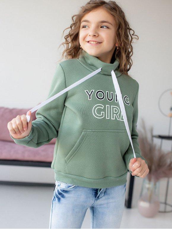 Детский свитшот с принтом и воротником стойкой 10075