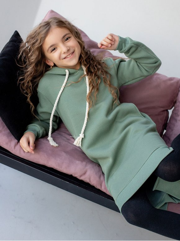 Детское платье худи с удлиненной спинкой 10073