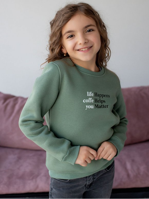 Детский свитшот с контрастным принтом 10070