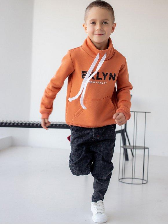 Детский свитшот с карманом-кенгуру и воротником стойкой 10074