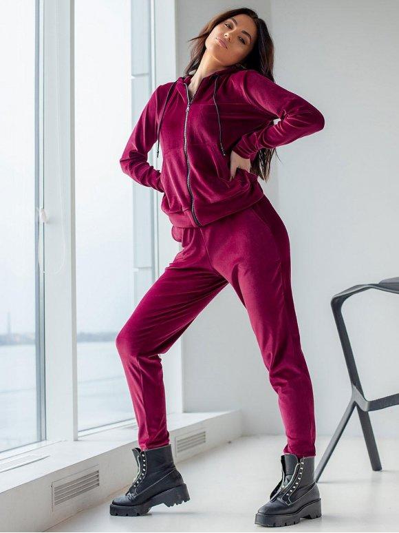 Модный велюровый костюм на молнии 3123