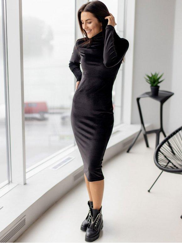 Базовое велюровое платье-гольф 3144