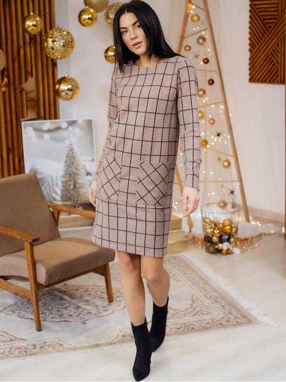 Удобное клетчатое платье с карманами 3160