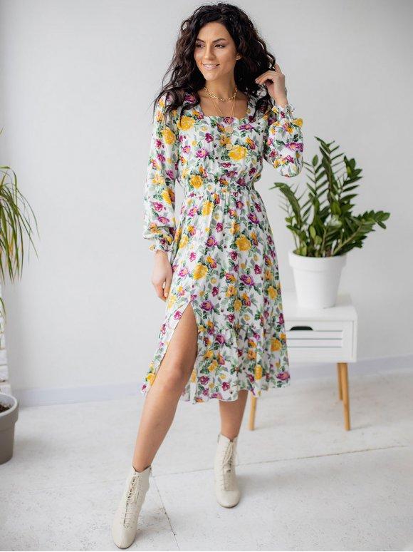 Женственное платье в цветочный принт с квадратным вырезом 3146