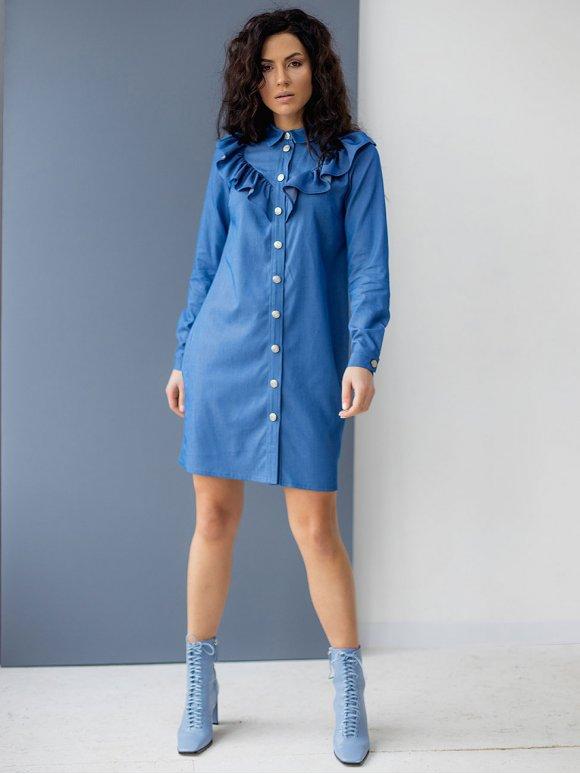 Джинсовое платье-рубашка с рюшами 3071