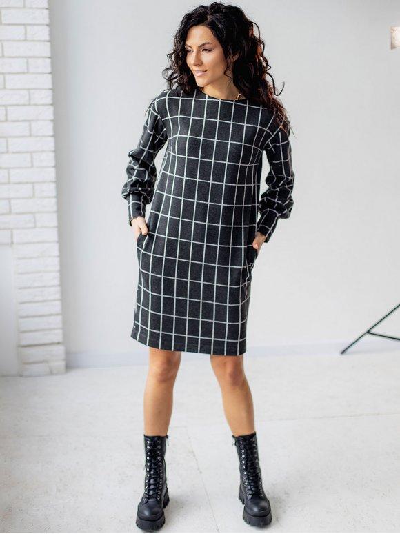 Стильное клетчатое платье 3161
